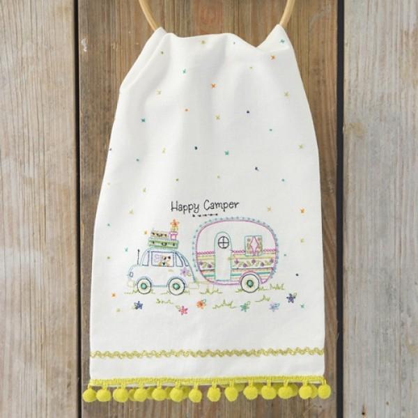 Leinen-Geschirrhandtuch  Happy Camper