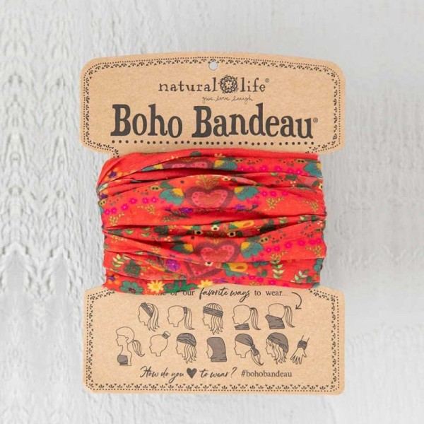 Stirn- und Haarband Boho Bandeau Red Hearts Rows