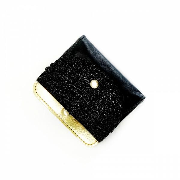 Kartenetui Scalop Leder Golddust gold