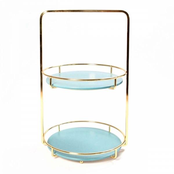 Display 2 tray round azur