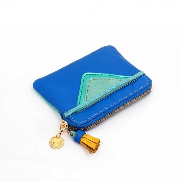 Mini Zip-Täschchen Triangle blue