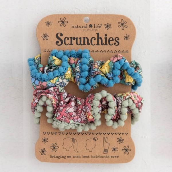 Scrunchies PomPom Set2 Blue Pink Floral