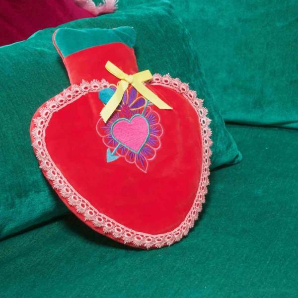 Wärmflasche Heart red