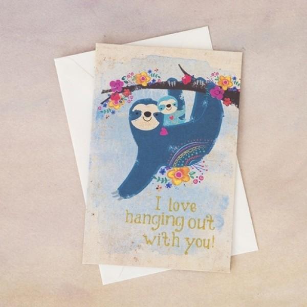 Grußkarte mit Umschlag  Sloth Love Hanging