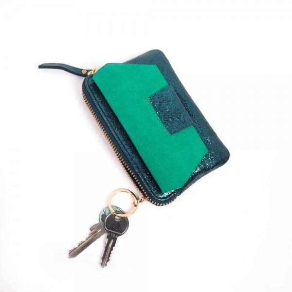 Portemonnaie Mini zip BUBBLE suede jade