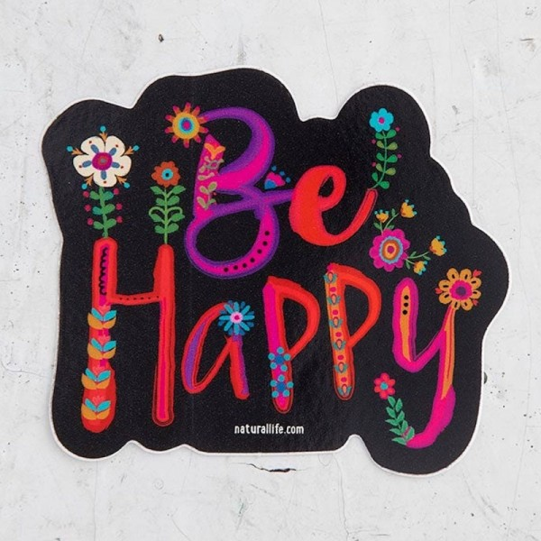Sticker Be Happy Blk Floral