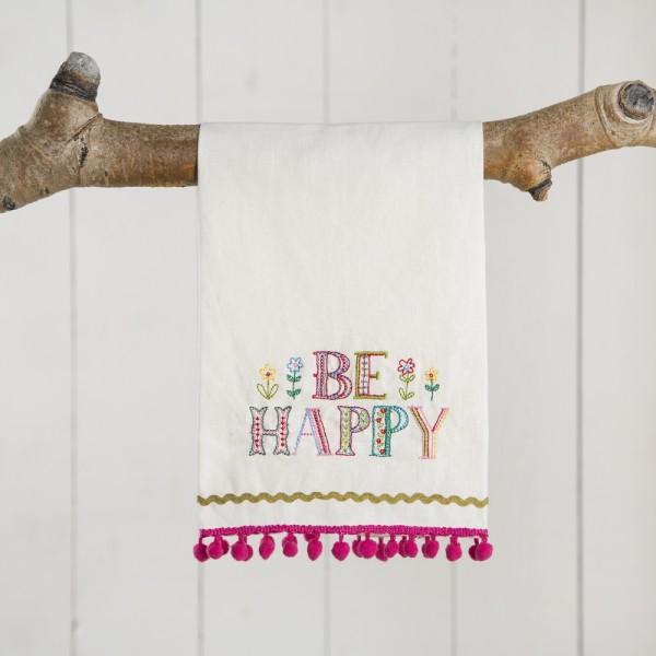 Leinen-Geschirrhandtuch- linen towels Happy