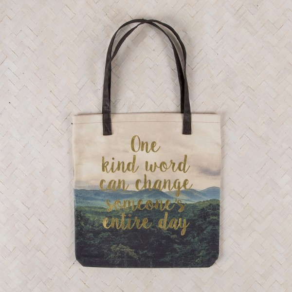 Tote Shopper Indi Blue Kind Word