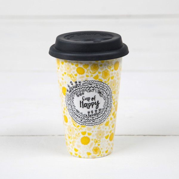 Thermobecher aus Keramik Cup of Happy
