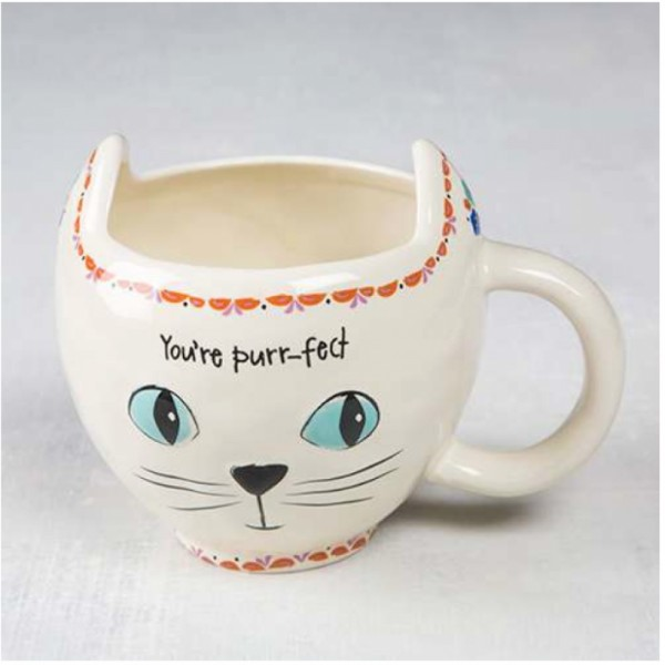 Tasse Folk Art cat Cream