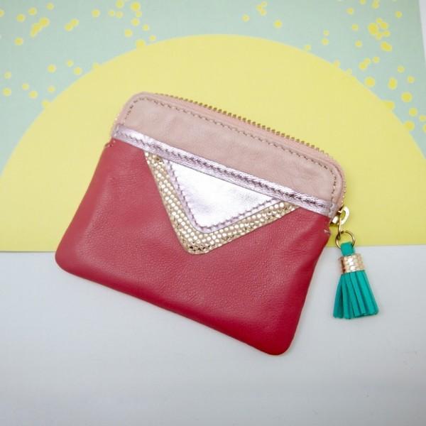 Mini Zip-Täschchen Triangle pink