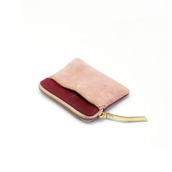 Mini zip Portemonnaie Leder Golddust rasberry