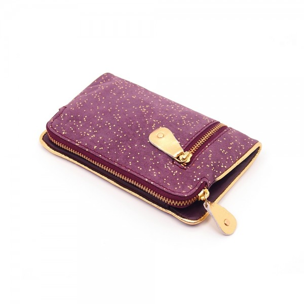 Portemonnaie folded Leder Kosmos berry