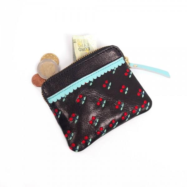 Portemonnaie mini zip CHERRY black