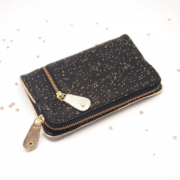 Portemonnaie folded Leder Kosmos black