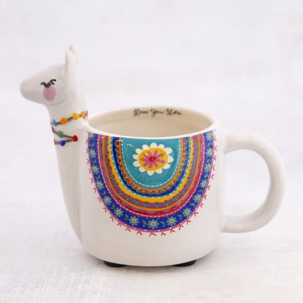 Tasse Folk Art Grey Llama