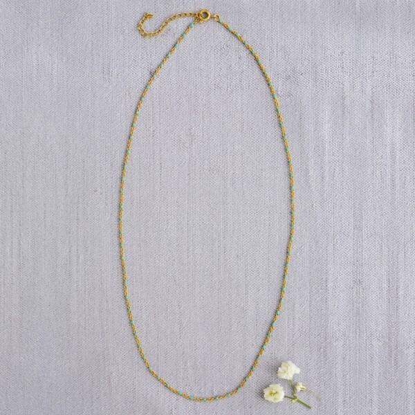Kette Gold Perlen Turq