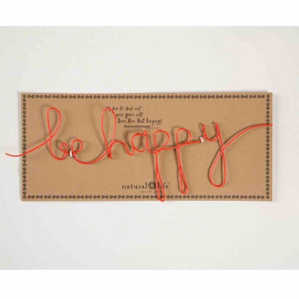 """Wandbild aus Draht """" Be happy"""""""
