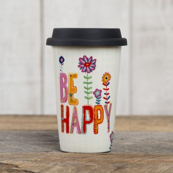 Thermobecher Keramik Be Happy