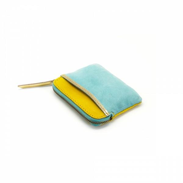Mini zip Portemonnaie Leder Golddust yellow