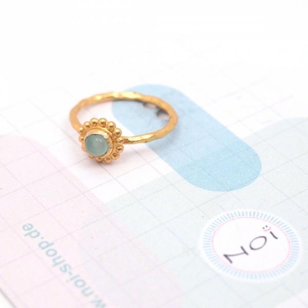 Ring DEEPSEA Silber vergoldet Aqua Chalcy