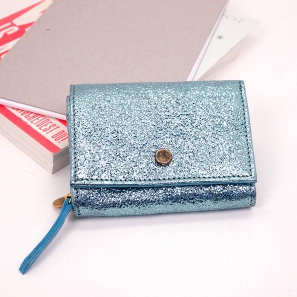 Portemonnaie Compact Leder Bubble metallic