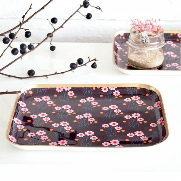 Tablett square L Brown Flower