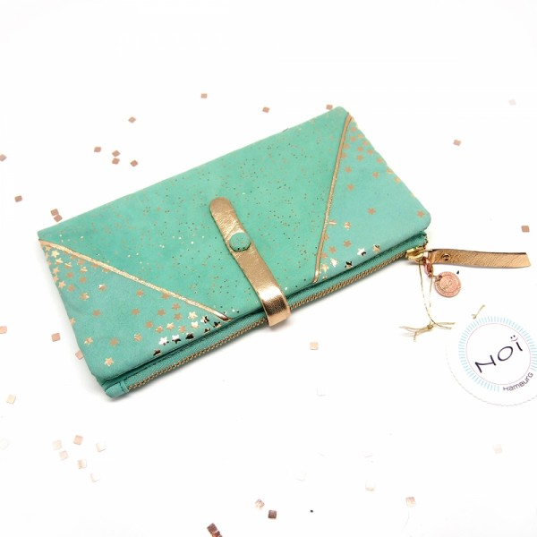 Portemonnaie HKzip Leder Kosmos mintgreen