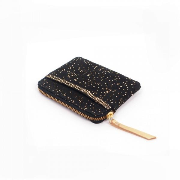Mini zip Portemonnaie Leder Kosmos black