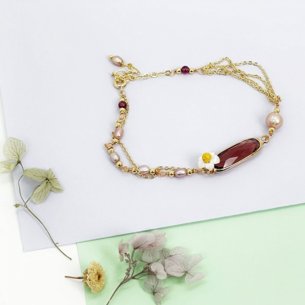 Armband Aida flower plum