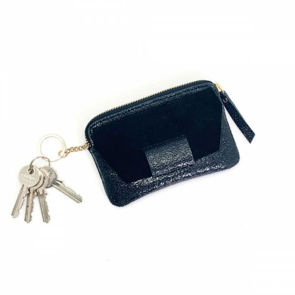Portemonnaie Mini zip BUBBLE suede black