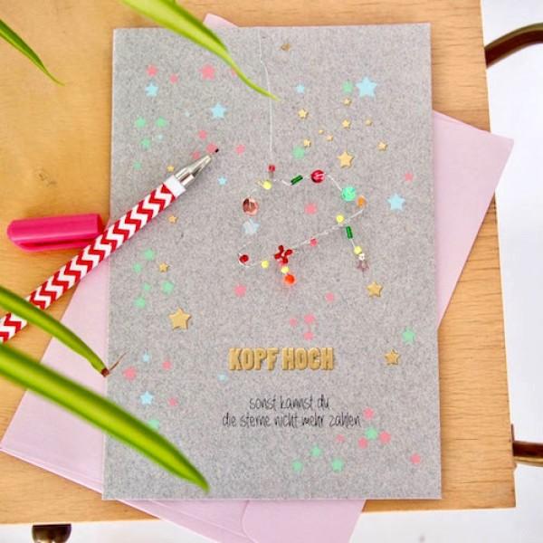 Karte+ Umschlag Kopf hoch