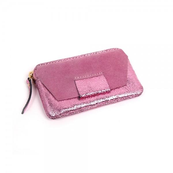 Portemonnaie Mini zip BUBBLE suede pink