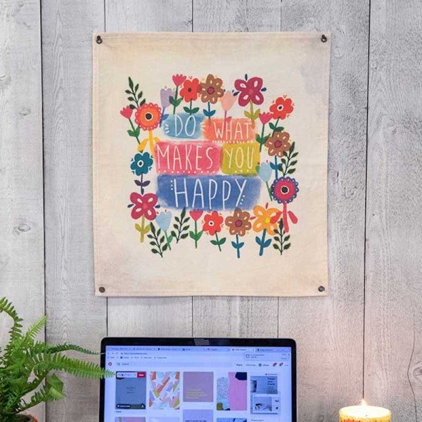 Wandbehang Canvas Happy Small Flower
