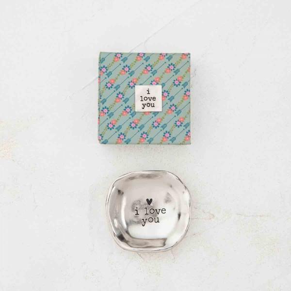 Mini Schale Silver Token in Geschenkbox Love you