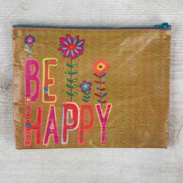Recycled Zip Täschchen Be Happy
