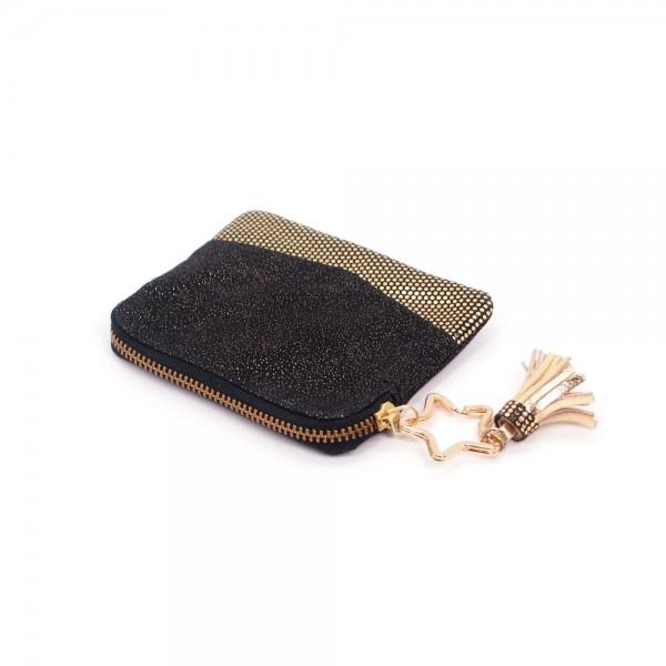 Portemonnaie Mini Zip Leder Golddust