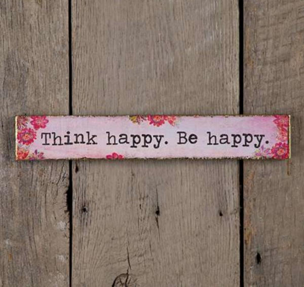 "Holzbild ""Think Happy Be\"""