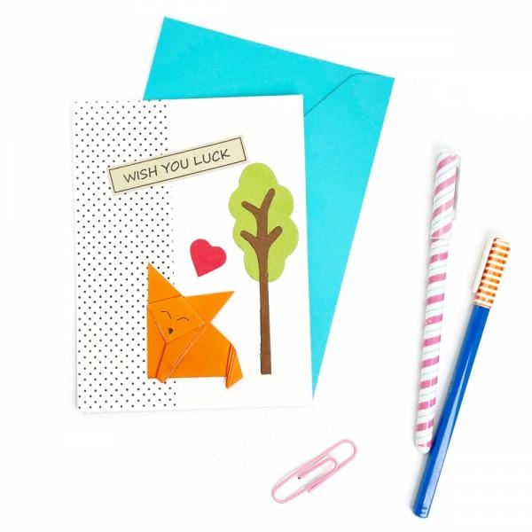 Grußkarte Origami Fuchs