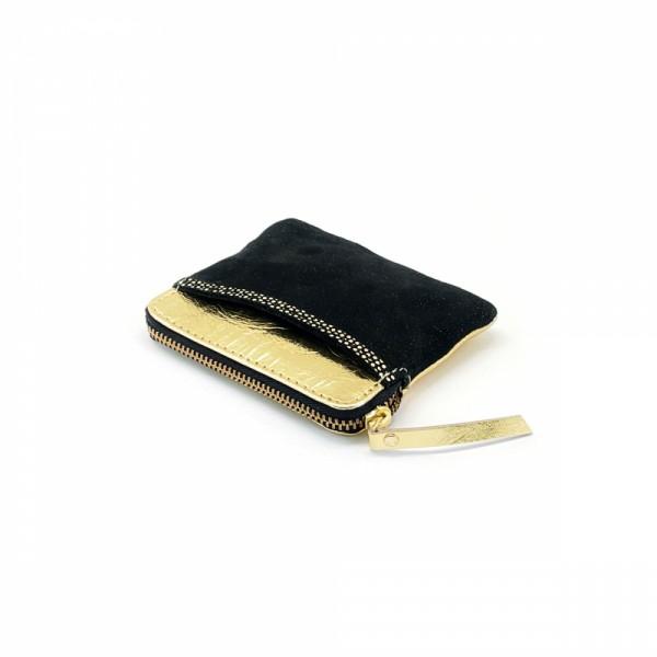 Mini zip Portemonnaie Leder Golddust Black