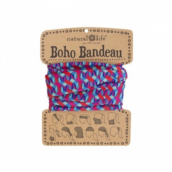 Stirn- und Haarband Boho Bandeau Pink Aqua Geo