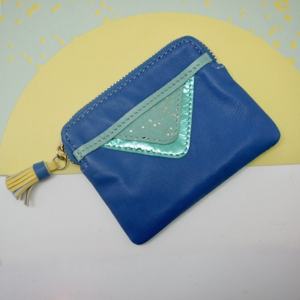 Mini Zip-Täschchen Triangle blue