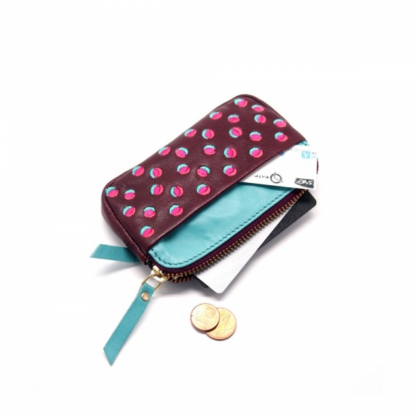 Portemonnaie mini zip 20 Doubledot plum