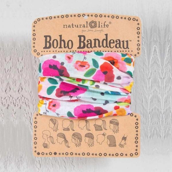 Stirn- und Haarband Boho Bandeau Turq Cream Floral