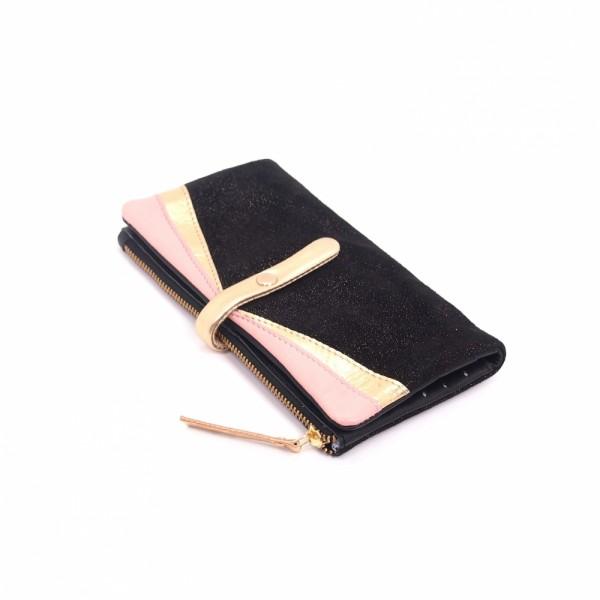 Portemonnaie HK zip Leder Golddust
