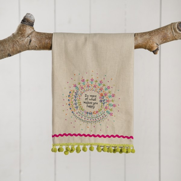 Leinen-Geschirrhandtuch- linen towels Happy