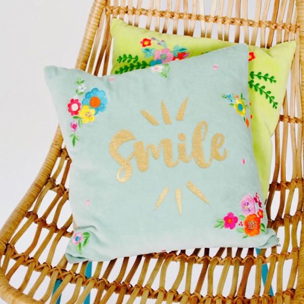 Kissenhülle Smile Samt 3030