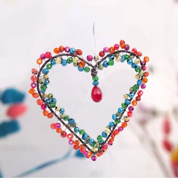 Dekoration Funkel Heart 7 berry
