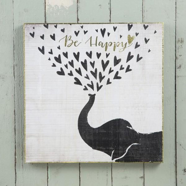 Wandbild Be Happy Elephant